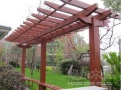 青岛防腐木制作  廊架